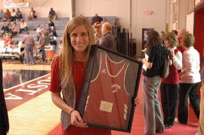 A close up of Sarah and her jersey | Augusta Christian Schools